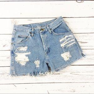 "Wrangler cutoff denim shorts distressed 30"""